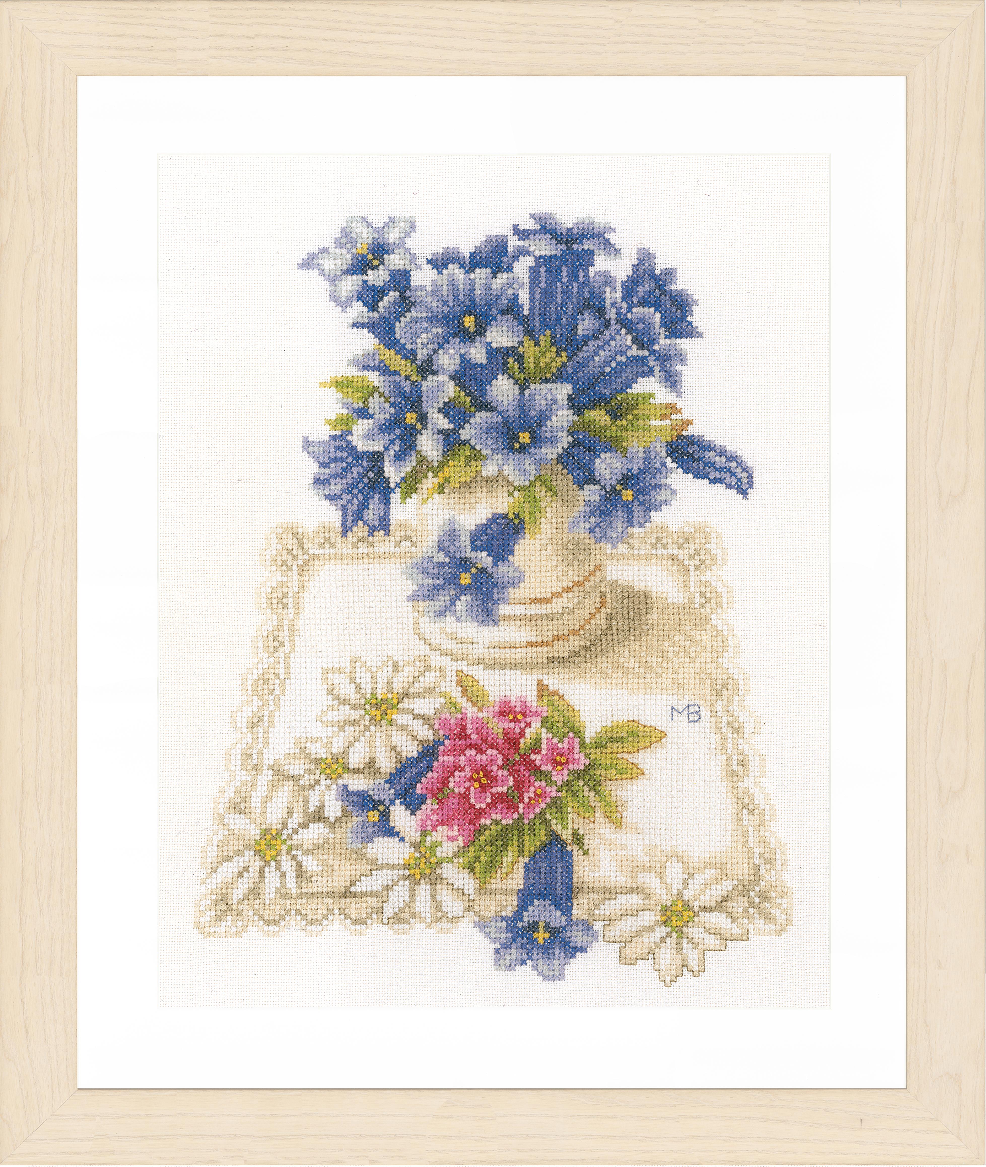 1x Compté Cross Thread Stitch Kit Fleurs Bleu Evenweave Sewing Craft Tool Uk-afficher Le Titre D'origine Circulation Sanguine Tonifiante Et Douleurs D'ArrêT