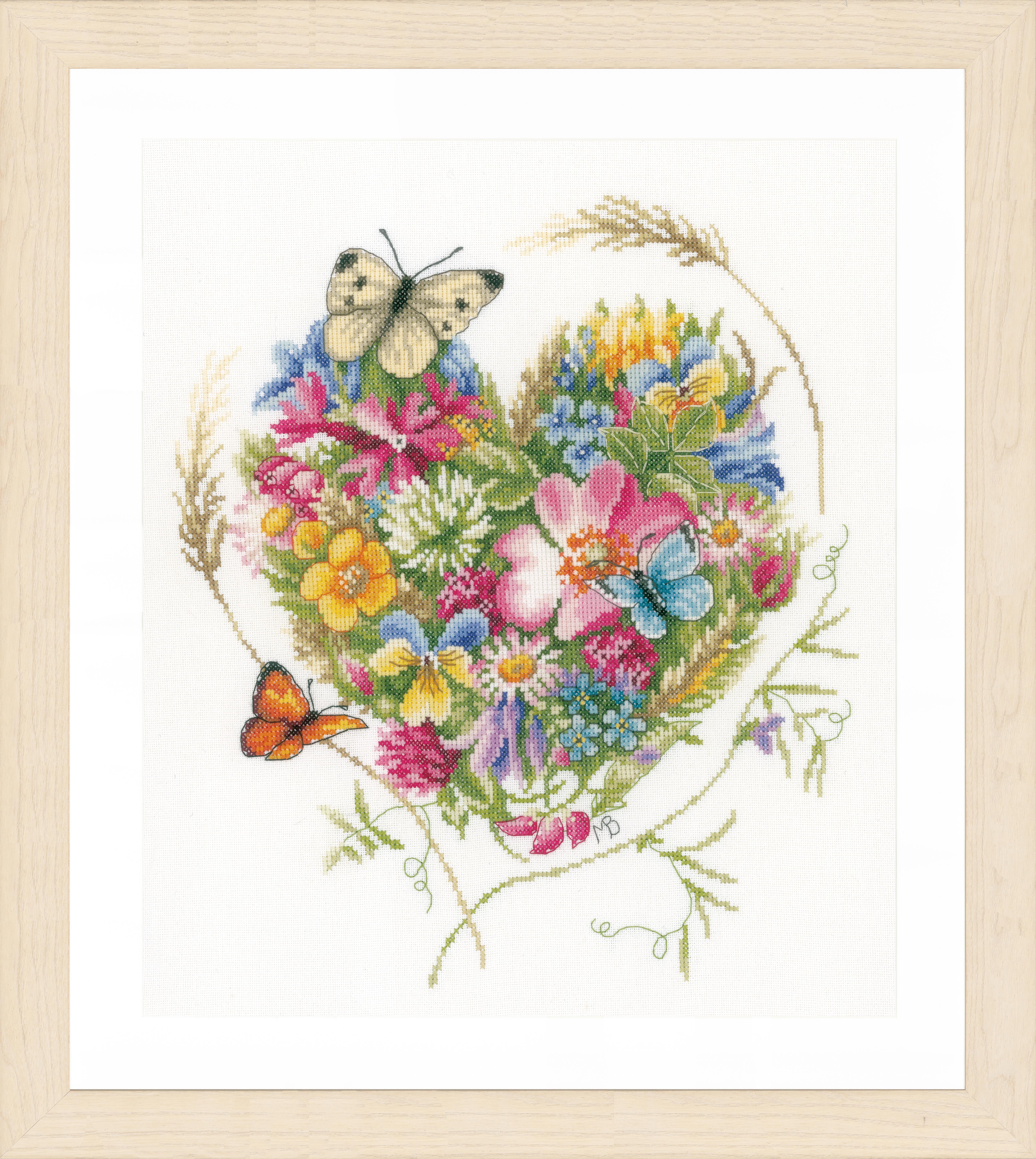 1x Compté Cross Thread Stitch Kit Cœur De Fleurs Evenweave Sewing Craft Art-afficher Le Titre D'origine Soulager La Chaleur Et La Soif.